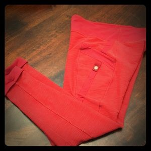 RARE Lululemon Red Cropped Button Snap Leggings